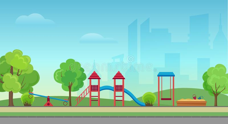 Vector city public park with kids playground on the modern city skyscrapers background. Green park in town city center. vector illustration