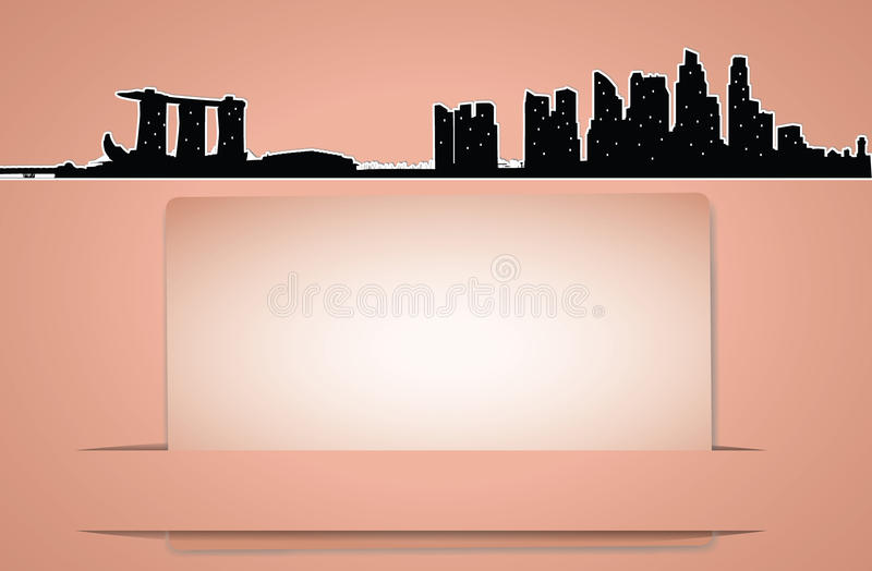 Vector city skyline card in retro style. Vector card in retro style with high modern building in cityscape background, Singapore silhouette royalty free illustration