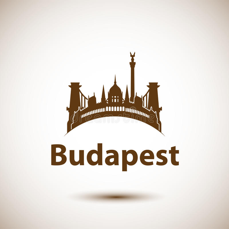 Vector city skyline with landmarks Budapest Hungary. Vector illustration can be used as logo vector illustration