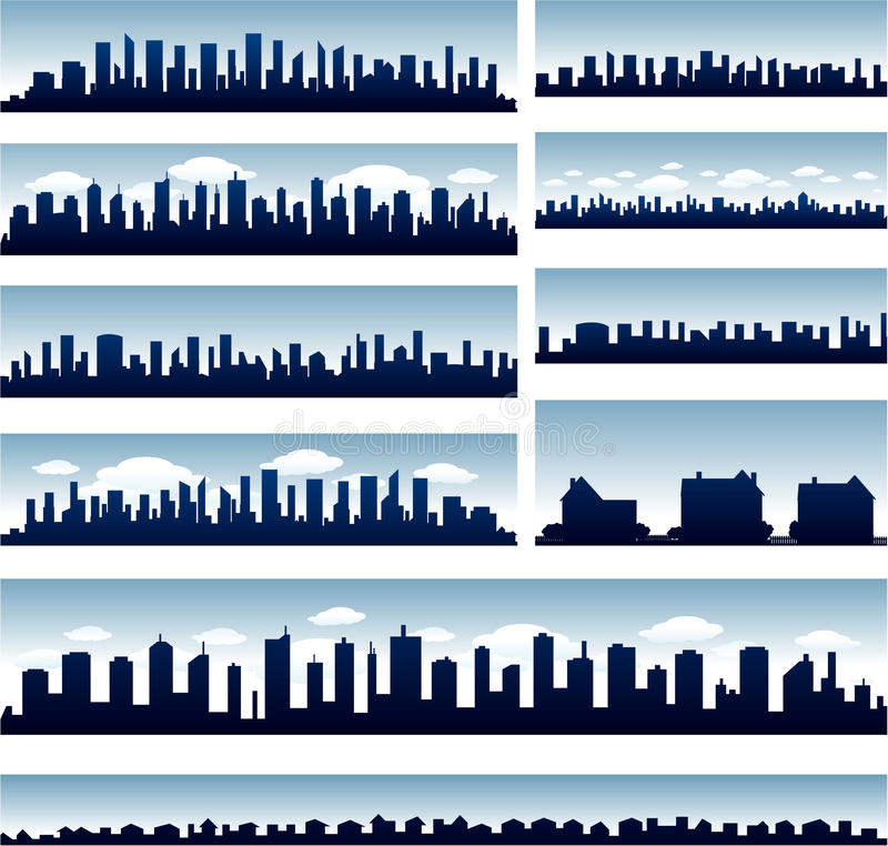 Vector City Skylines Royalty Free Stock Image