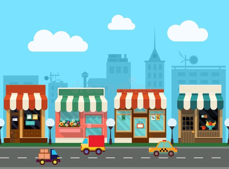 Vector city street with shop stock photos
