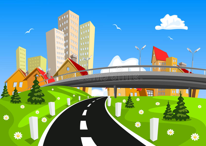 Vector city surrounded by nature landscape with bridge. Illustration stock illustration