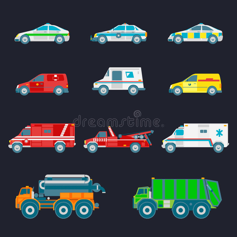 Vector city transport set in flat style. Different municipal, special and emergency services trucks icons collection. vector illustration