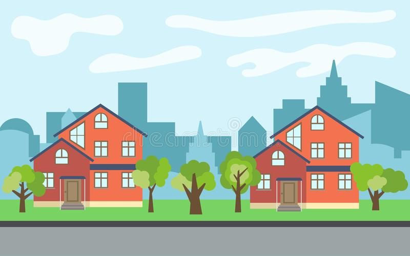 Vector city with two two-story cartoon houses and green trees in the sunny day. Summer urban landscape. Street view with cityscape on a background royalty free illustration
