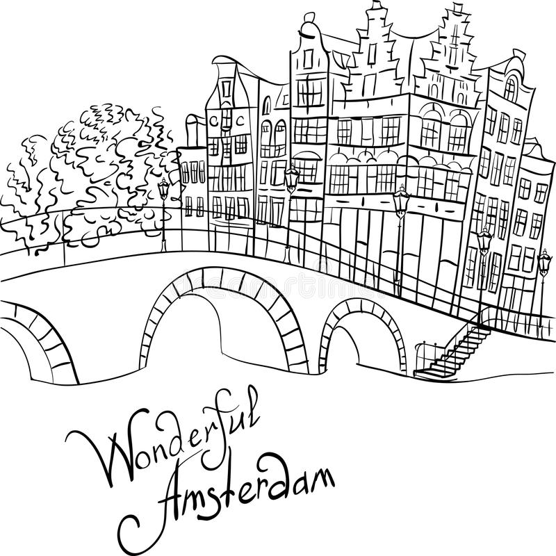 Vector city view of Amsterdam canal and bridge. Black and white hand drawing, city view of Amsterdam canal, bridge and typical houses, Holland, Netherlands vector illustration