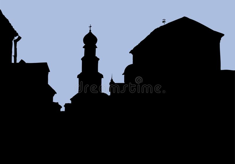 Vector cityscape. Architectural complex of old city vector illustration