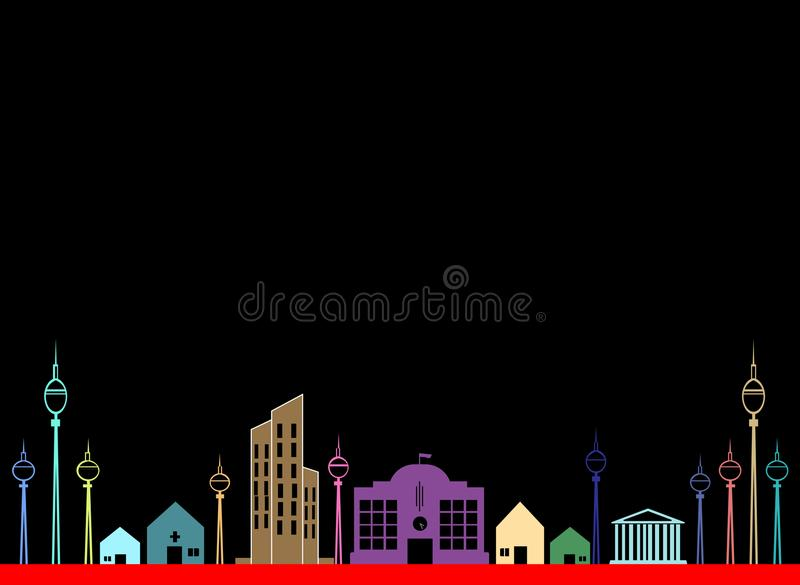 Vector cityscape black background at night. Icons, logos, illustrations stock illustration