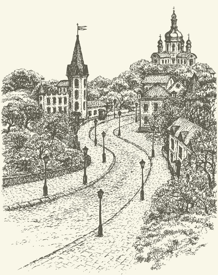 Vector cityscape. Church and Castle on Andrew Descent in Kiev royalty free illustration