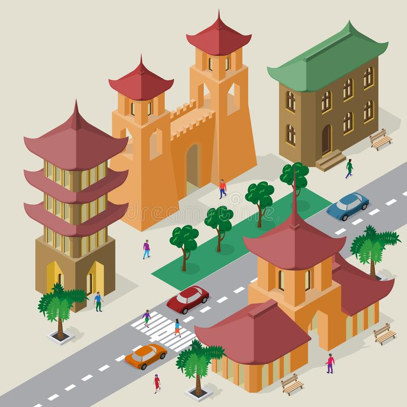 Vector cityscape in east asia style. Set of isometric buildings, pagoda, fortress gate with towers, roadway, benches, trees, cars stock illustration