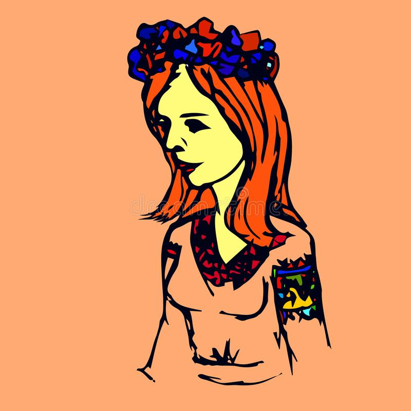 Ukrainian girl vector. Vector cketch of ukrainian girl in wreath of flowers and embroidered shirt stock illustration