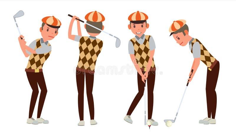 Vector clásico del jugador de golf Oscilación tirado en curso Diversas actitudes Ejemplo plano de la historieta stock de ilustración