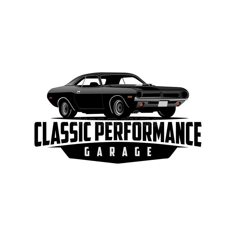 Vector clásico del logotipo del garaje del coche y del funcionamiento ilustración del vector