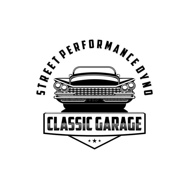 Vector clásico del logotipo del garaje del dyno del funcionamiento de la calle libre illustration