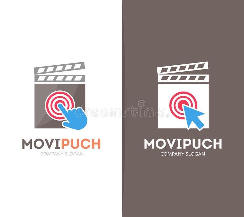 Vector clapperboard and click logo combination. Cinema and cursor symbol or icon. Unique movie and video logotype design royalty free illustration