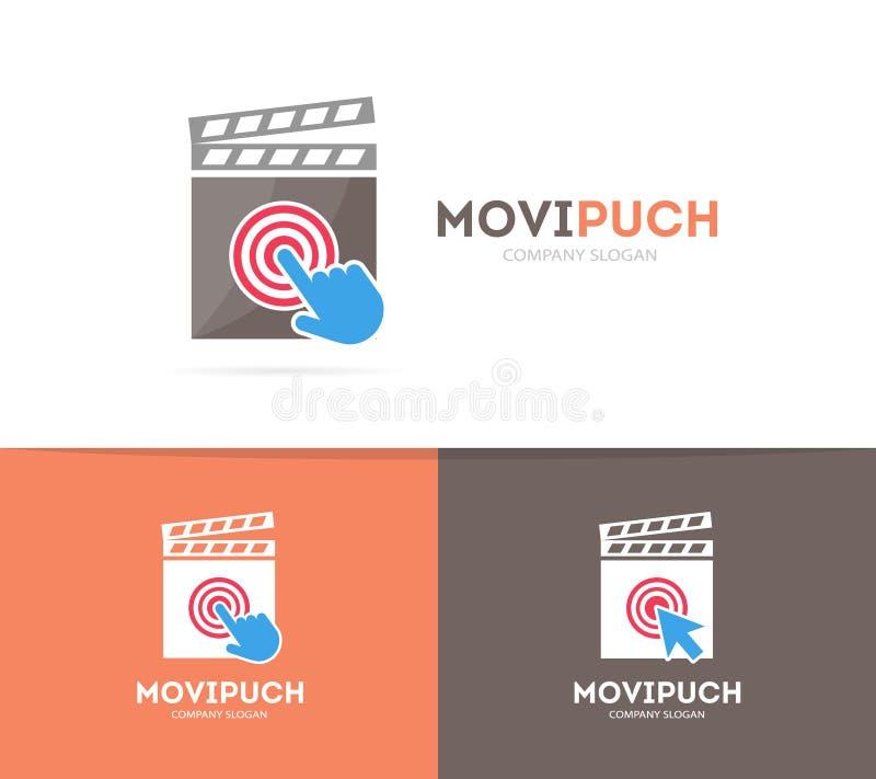 Vector clapperboard and click logo combination. Cinema and cursor symbol or icon. Unique movie and video logotype design stock illustration