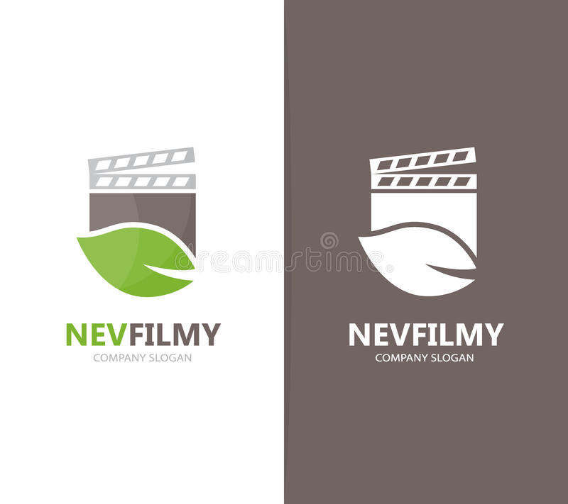 Vector of clapperboard and leaf logo combination. Cinema and eco symbol or icon. Unique organic and video logotype vector illustration