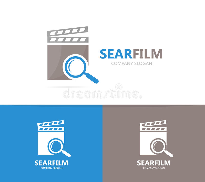 Vector of clapperboard and loupe logo combination. Cinema and magnifying glass symbol or icon. Unique video and search royalty free illustration