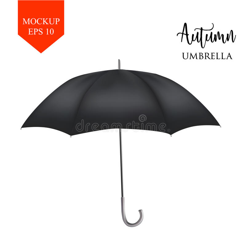 Vector classic black round Rain umbrella side view. isolated background. Vector realistic parasol rain umbrella, Sunshade set. black colored, isolated .Blank royalty free illustration