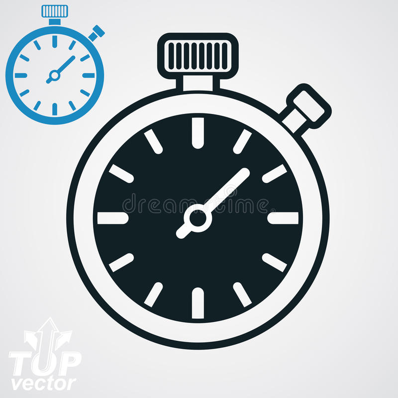 Vector classic black and white stopwatch, additional version inc royalty free illustration