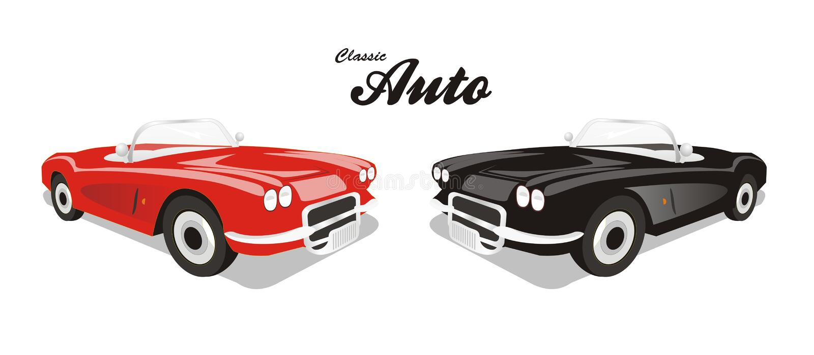 Vector classic car advertising. This is a cool vector of classical red car advertising with white background color royalty free illustration