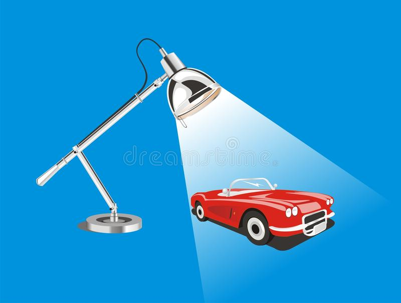 Vector classic car toy model. This is a cool vector of classical red car toy model and desk lamp with white background color vector illustration