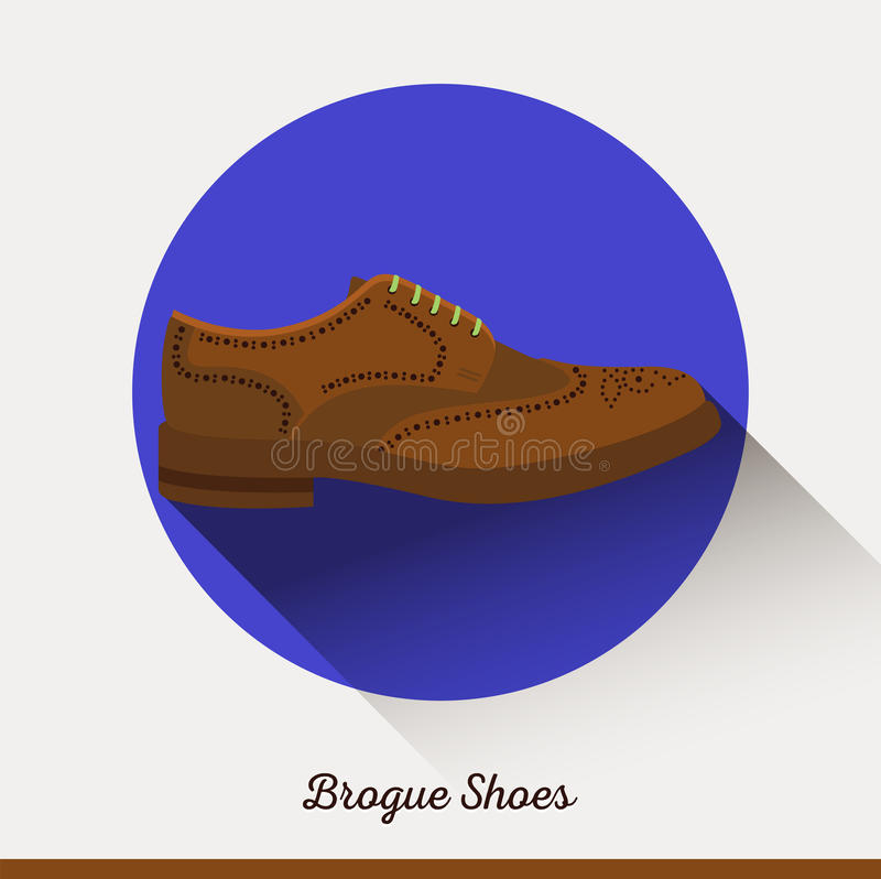 Brogue Shoes in flat style. Businessman stylish accessories. Vector classic leather Brogue Shoes. Businessman stylish accessories. Flat icon male accessories royalty free illustration