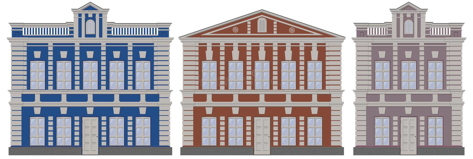 Vector classical european architecture buildings houses. Moscow architecture buildings houses. Classicism style buildings houses M. Oscow architecture vector illustration