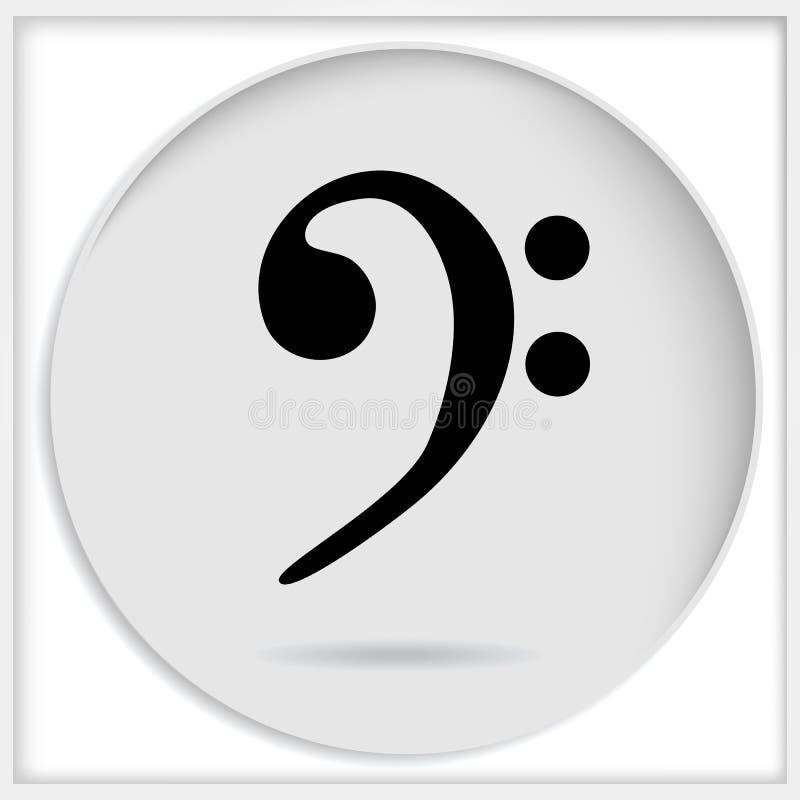 Vector a clave baixa preta do ícone isolada no fundo branco Música ilustração stock