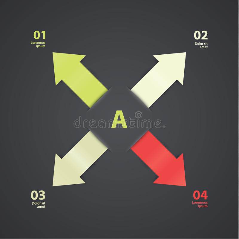 Vector clean template. Four arrows in different colours. Place for several choices - steps stock illustration