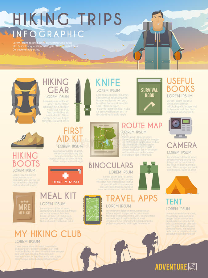 Vector climbing infographic. Vector infographics on the theme of Climbing, Trekking, Hiking, Walking. Sports, outdoor recreation, adventures in nature, vacation royalty free illustration