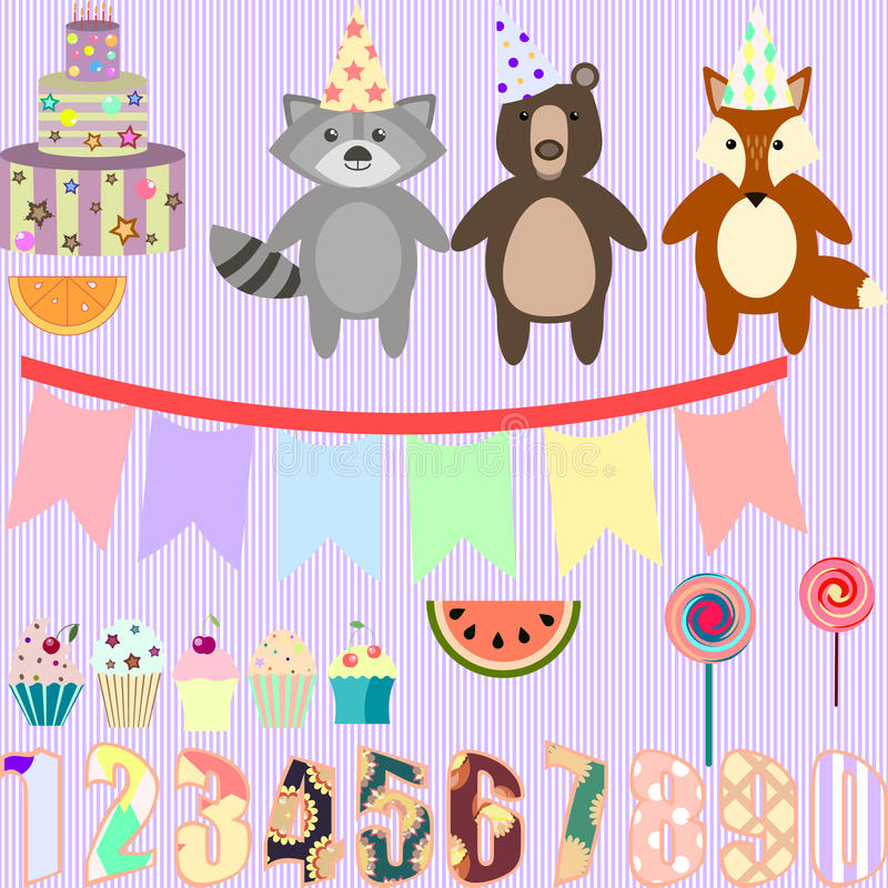 Vector clip art for birthday party with forest animals.  stock illustration
