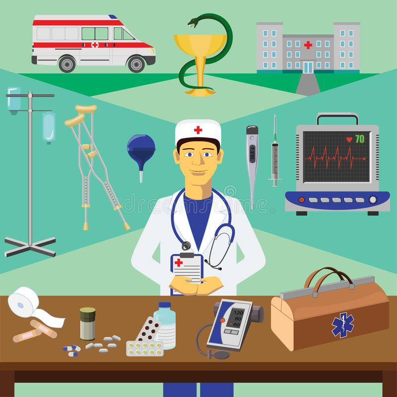 Vector clip art. Infographics education. Profession of the doctor royalty free illustration