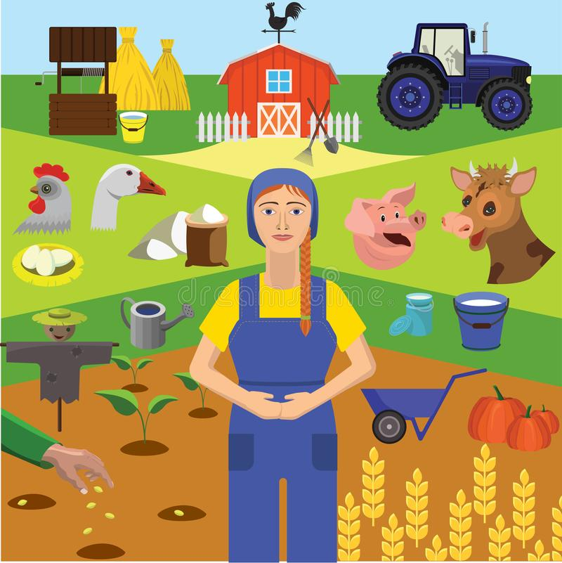 Vector clip art. Infographics education. Profession of the farmer, animal husbandry royalty free illustration