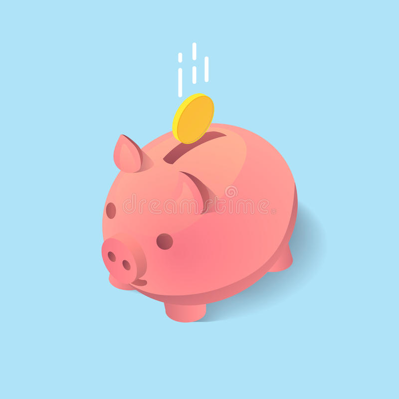 A vector clip art of moneybox in the form of a pig with a coin falling into it. Concept of saving money in isometric 3D style and. Flat design stock illustration