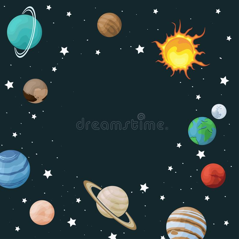 Free Vector Clip Art Set Of Solar System Circle Frame With Planet On Space Background. Universe Texture For Greeting Cards, Invitations Stock Photography - 134479702