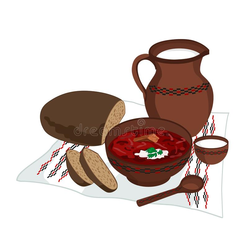 Vector clipart of Borscht with bread and milk - dish of Ukrainian traditional cuisine. A plate with red tomato soup, sliced rye. Bread and a jug of milk stand stock illustration