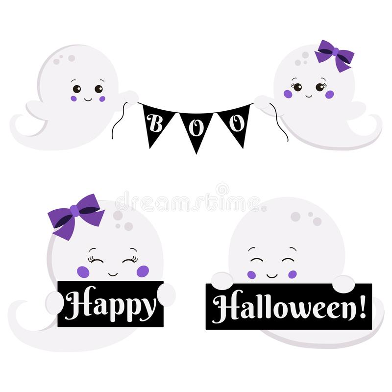 Vector clipart set cartoon flat kawaii style cute, little, scary boy and girl ghost with boo banner and Happy Halloween stock illustration