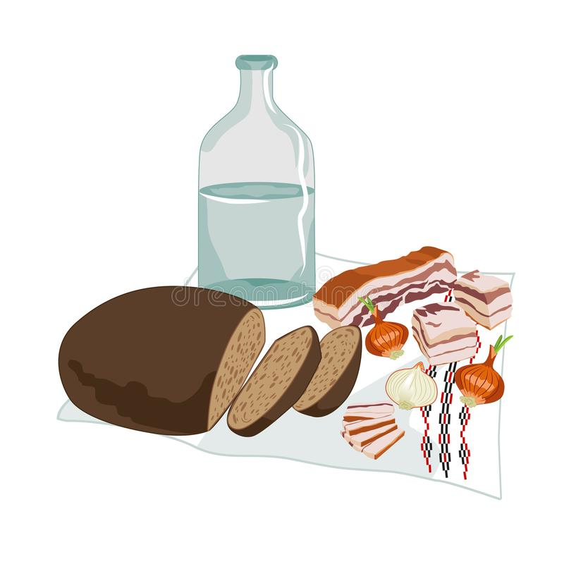 Vector clipart of Ukrainian Horilka with salo, rye bread, and onions on the embroidered rushnyk. Pieces of lard and black bread,. Three onions and clear liquid vector illustration