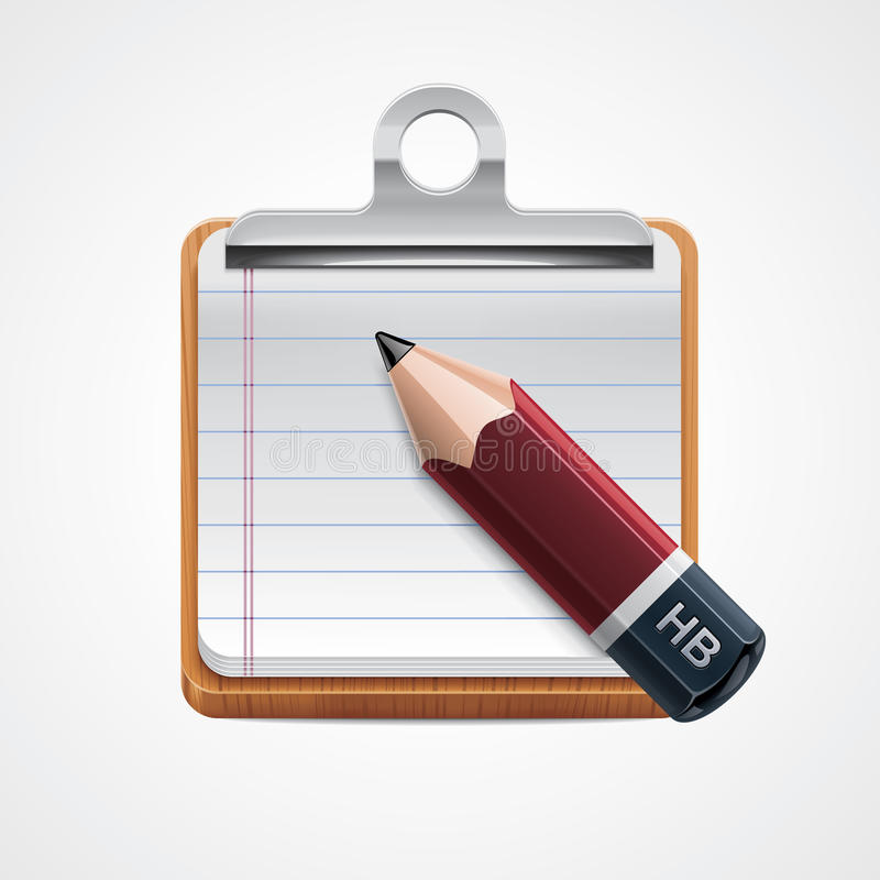 Vector clipboard and pencil icon royalty free illustration