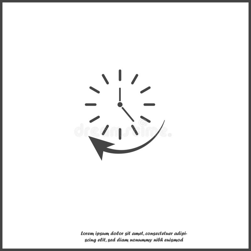 Vector clock and arrow icon indicating clockwise direction, time up on white isolated background. Layers grouped for easy editing illustration. For your design royalty free illustration