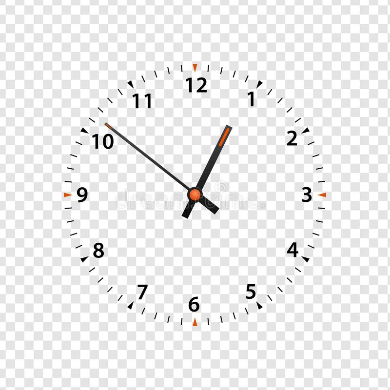 Vector clock face isolated on transparent background. Clock icon design template closeup. Time scale with numbers and clock hands vector illustration