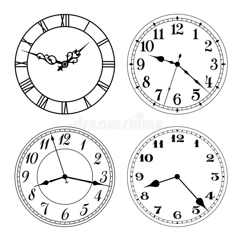 Free Vector Clock Faces In Black And White. Arabic And Roman Numerals. Stock Images - 74043594