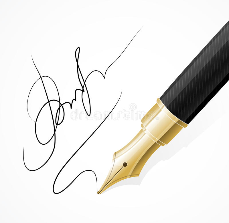 Vector Close up of a fountain pens and signature. Vector Close up of a fountain pen and signature isolated vector illustration