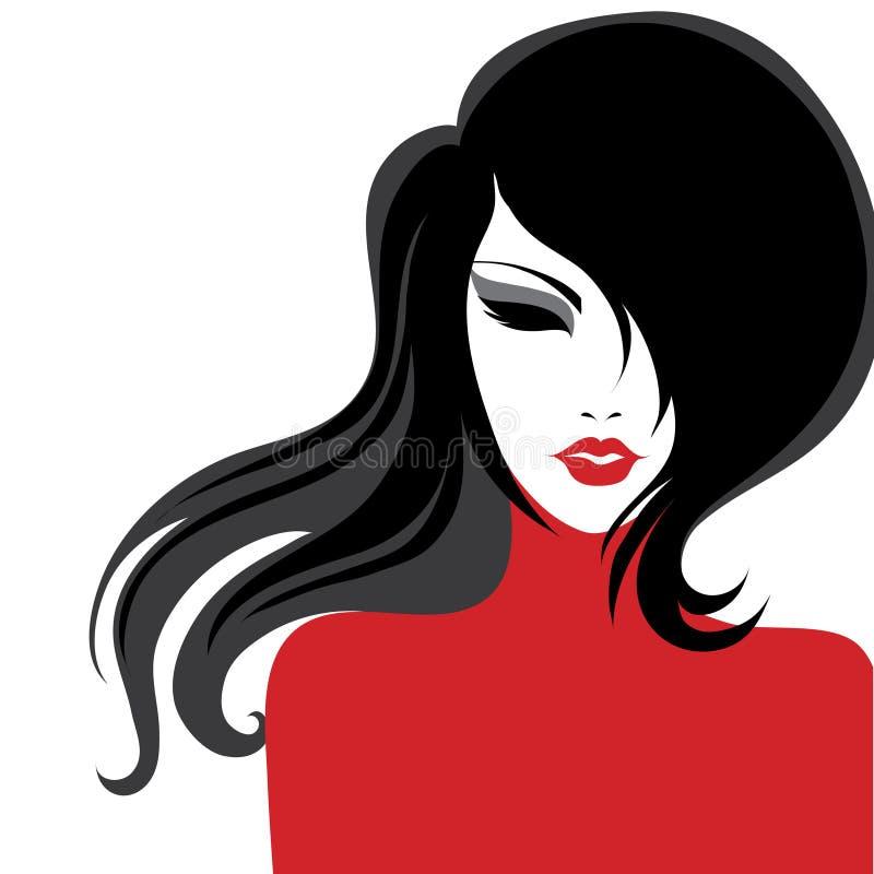Vector close-upportret van een meisje in rode kleding royalty-vrije illustratie