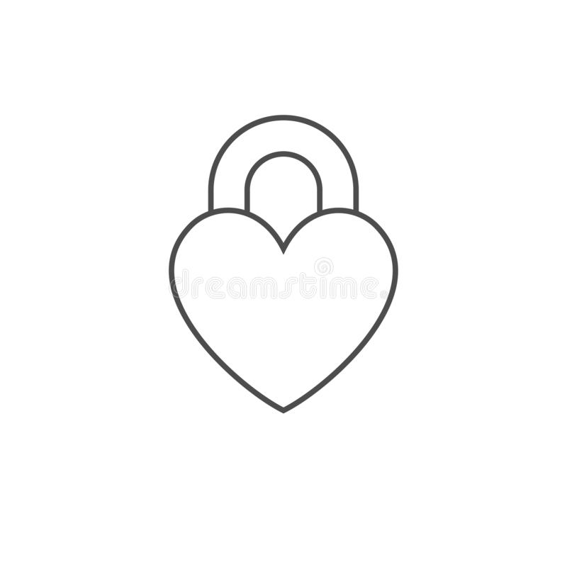 Vector closed lock in the form of heart. Outline flat icon isolated on white background. Vector shape sign for romantic and. Valentine greeting illustrations stock illustration