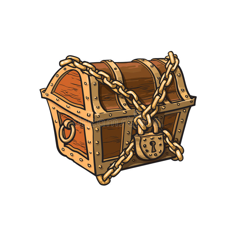 Vector closed locked chained wooden treasure chest royalty free illustration
