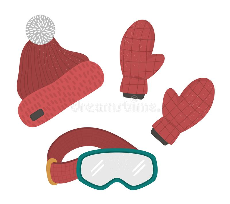 Vector clothes set for winter sport activities. Collection of clothing items for cold weather. Flat illustration of warm hat, gloves, glasses for snowboarding stock illustration
