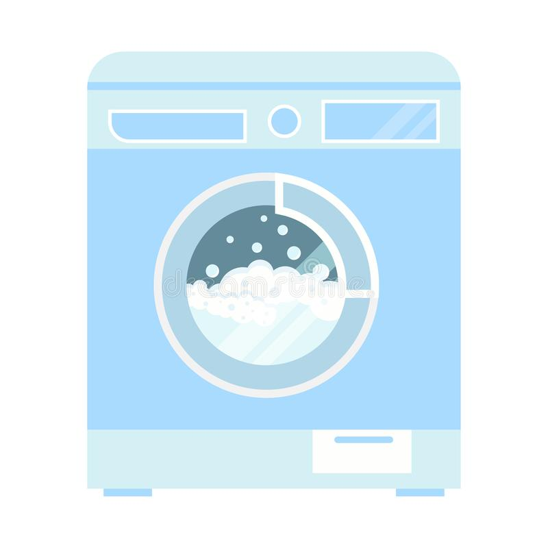 Vector clothes washer machine with foam and bubbles illustration isolated on white background royalty free illustration