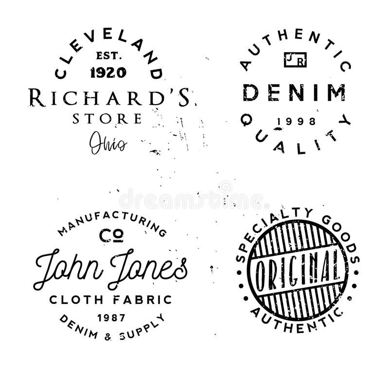 Vector clothing theme badges. in vintage typography style royalty free illustration