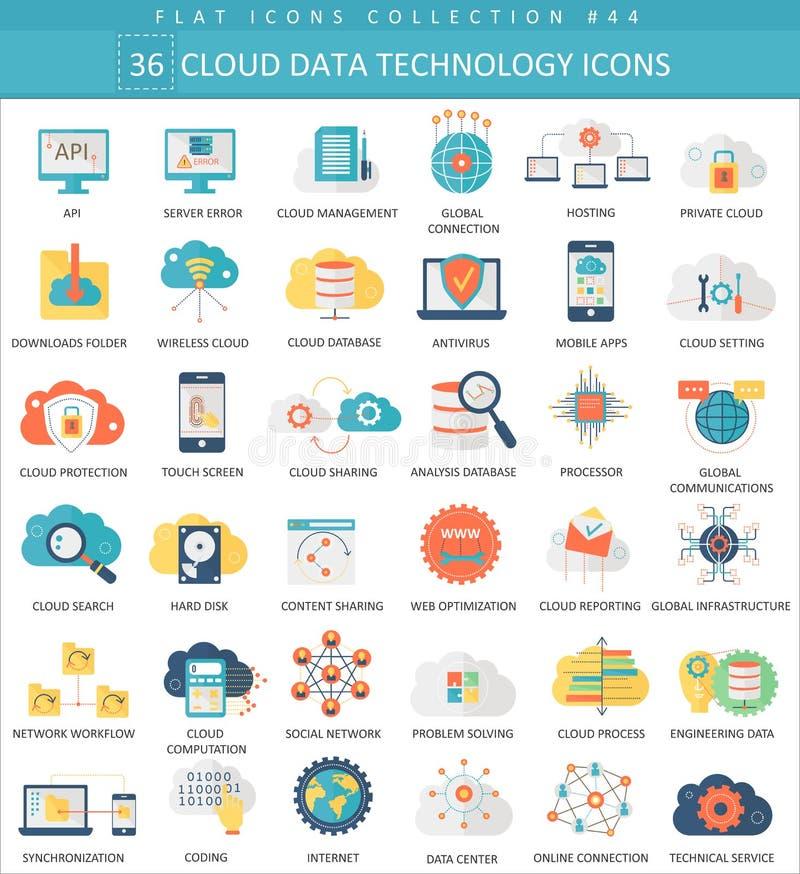 Vector Cloud data technology color flat icon set. Elegant style design. stock illustration